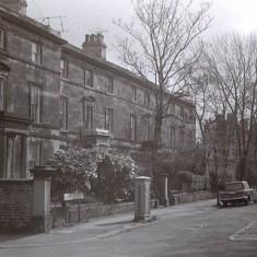 Houses (now demolished) on Broomhall Place, early 1970s.   Photo: Edward Mace