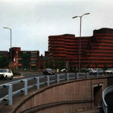 Moorfoot Building (Manpower Services Commission) from Ecclesall Road, early 1980s.   Photo: Edward Mace