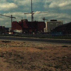 Construction of Moorfoot Building (Manpower Services Commission), 1980.   Photo: Edward Mace