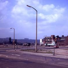 Moorfoot towards St Mary's church, 1980.   Photo: Edward Mace