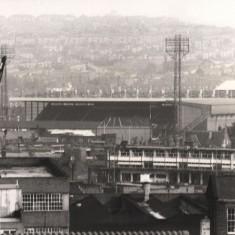 Bramall Lane football ground seen from Broomhall Flats, May 1978   Photo: Tony Allwright