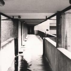 Puddle on walkway, Broomhall Flats. May 1978 | Photo: Tony Allwright