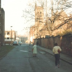Upper Hanover Walk with St Silas Church in background, February 1980 | Photo: Tony Allwright