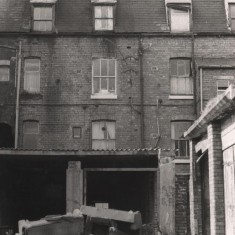 Derelict garages at back of Havelock Square, May 1979 | Photo: Tony Allwright