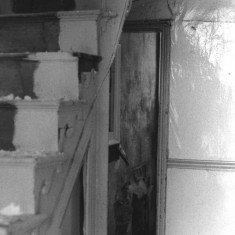 Stairs, derelict house, Upper Hanover St, May 1979   Photo: Tony Allwright