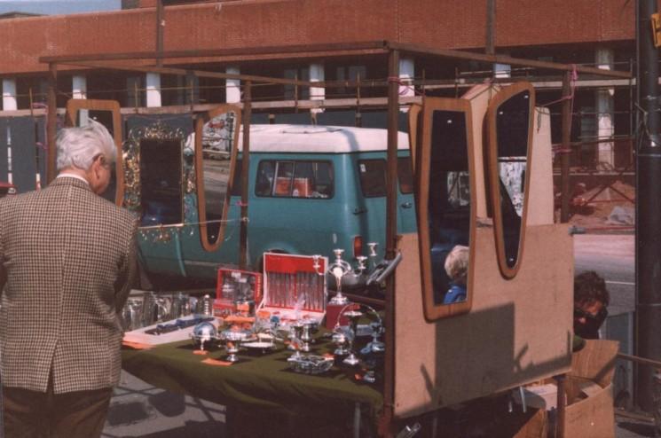 Silverware stall at Moorfoot market, May 1980 | Photo: Tony Allwright