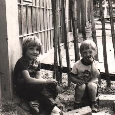 Two boys at play beside new subway, Broomhall Flats. July 1978 | Photo: Tony Allwright