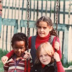 Three children on swing, Broomhall adventure playground. June 1978 | Photo: Tony Allwright