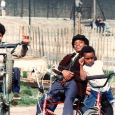 Three boys and bikes, Broomhall adventure playground. June 1978 | Photo: Tony Allwright