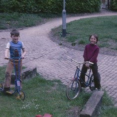 Two boys, scooter and bike, Broomhall Flats. July 1978 | Photo: Tony Allwright