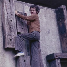 Boy climbing, Broomhall Flats play area. July 1978 | Photo: Tony Allwright