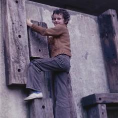 Boy climbing, Broomhall Flats play area. July 1978 | Photo: Tony Allwright