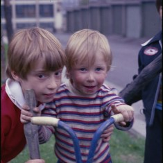 Two boys and a scooter, Broomhall Flats. July 1978 | Photo: Tony Allwright