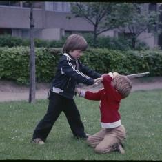 Swordplay, Broomhall Flats. July 1978 | Photo: Tony Allwright