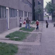 Boys at play, Broomhall Flats. July 1978 | Photo: Tony Allwright