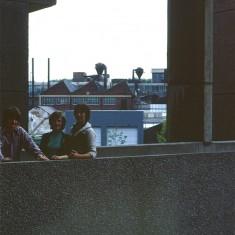 Three teens on walkway at Broomhall Flats, July 1978 | Photo: Tony AllwrightOB_PH0377_TA_threeteens_1978Three teens on walkway at Broomhall Flats, July 1978