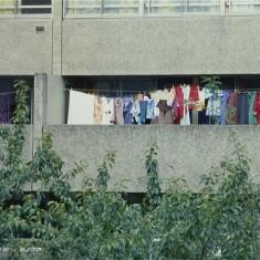 Laundry on Balcony, Broomhall Flats. July 1978   Photo: Tony Allwright