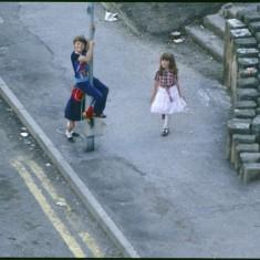 Three children on street, Broomhall Flats. July 1978 | Photo: Tony Allwright