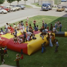 Fun day bouncy castle, Broomhall Flats. July 1978 | Photo: Tony Allwright