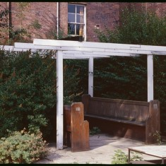 Frame structure and pews, now at Wilkinson St. September 1978 | Photo: Tony Allwright