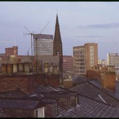 Glossop Rd rooftops and Drama Studio, December 1978 | Photo: Tony Allwright