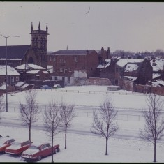 Hanover Way and St Silas Church in the snow, February 1979 | Photo: Tony Allwright