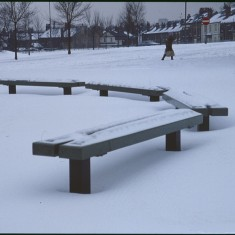 Bench under snow, Broomhall Flats. February 1979 | Photo: Tony Allwright