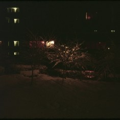 Night at Broomhall Flats in the snow. March 1979 | Photo: Tony Allwright