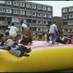 Bouncy castle, Broomhall summer fair, Hanover Flats. September 1979 | Photo: Tony Allwright