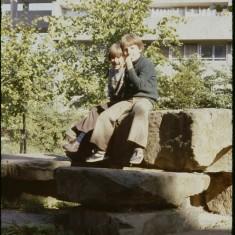 Two boys on rocks, Petre Row, Broomhall Flats. September 1979 | Photo: Tony Allwright