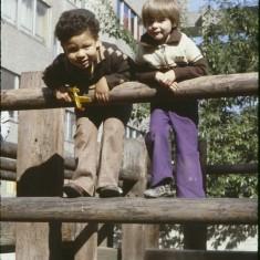 Two boys on play frame, Petre Row. September 1979 | Photo: Tony Allwright