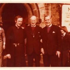 L-R: Alan Billings (Vicar of St Silas), Donald Coggan (Archbishop of Canterbury) and Gordon Fallows (Bishop of Sheffield). St Silas Church , May week, 1976 | Photo: Mary Roberts