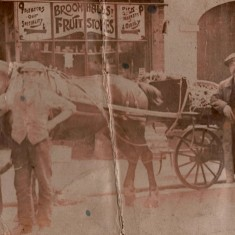 JW Cooper (centre) outside Cooper's Fruit & Vegetable Shop, c.1907 | Photo: Edward Bell