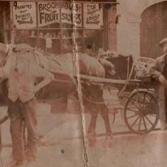 JW Cooper (centre) outside Cooper's Fruit & Vegetable Shop, c.1907   Photo: Edward Bell