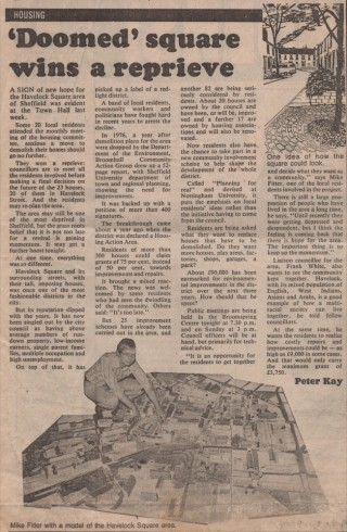 Newspaper article on Havelock Square saved from demolition, 1979 | Image: Mike Fitter