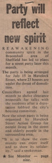Newspaper article on Havelock Square Street Party, 1979 | Image: Mike Fitter
