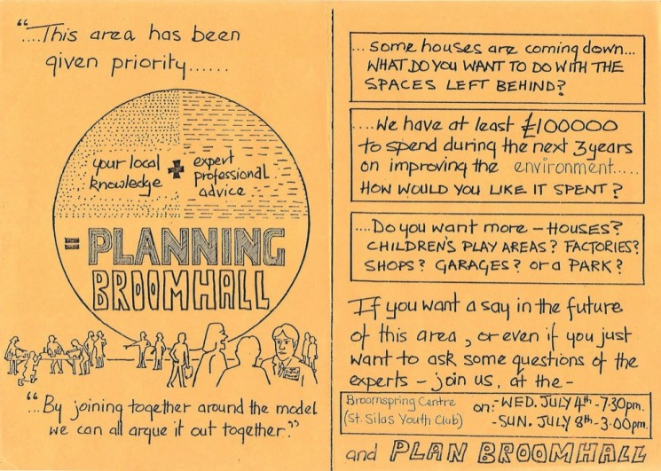 Planning Broomhall Leaflet: middle pages. 1979 | Image: Mike Fitter