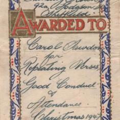 Carol Sawdon's Hodgson Street Sunday School Award. 1947 | Photo: Andrea Lee