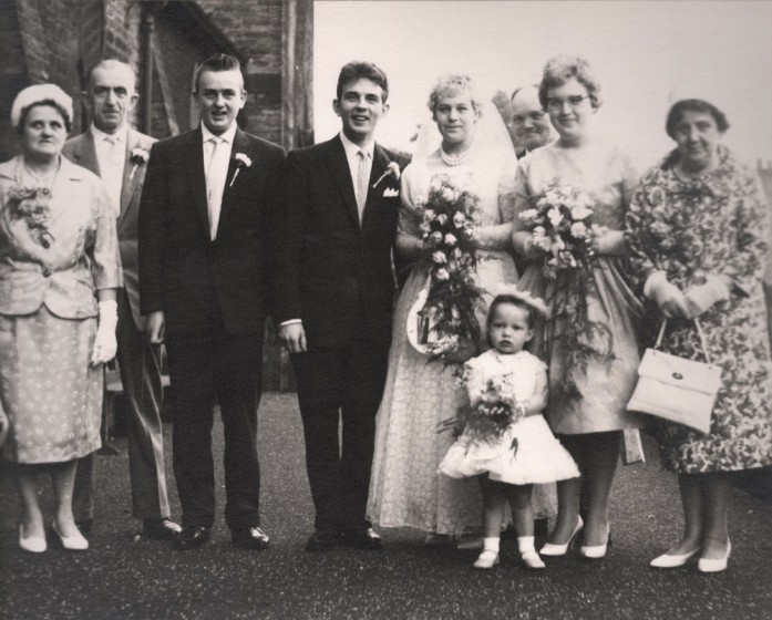 Barbara and Geoffrey Colliver wedding party outside St Silas Church, 1961 | Photo: Barbara and Geoffrey Colliver