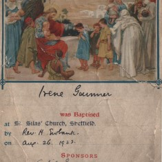 Irene Gunner's Baptism certificate. St Silas Church, 1923 | Photo: Josie Moore