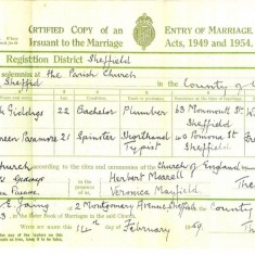 Derek Giddings and Maureen Paramore wedding certificate. St Silas Church, 14th Feburary 1959 | Photo: Maureen Giddings