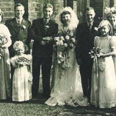 Joyce Giddings and Herbert Marrall wedding, St Silas Church. 1950 | Photo: Maureen Giddings