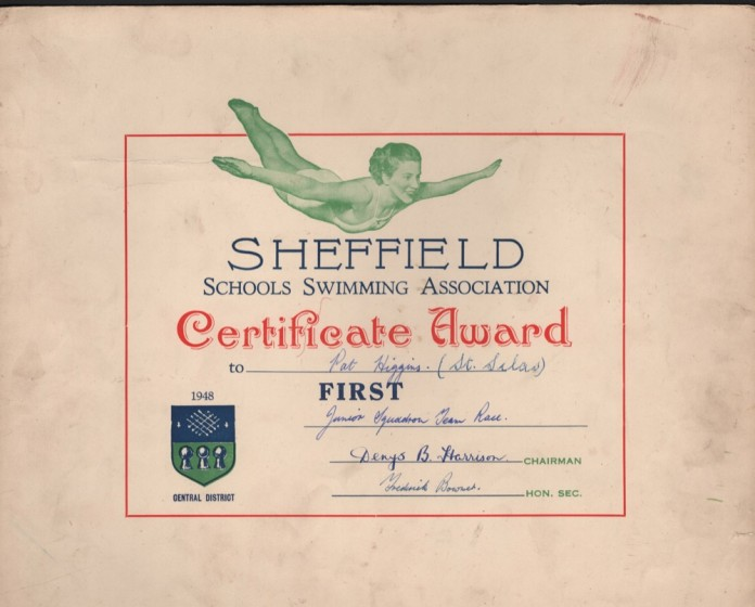 Swimming certificate awarded to Pat Higgins, 1948. | Photo: Pat Wetherill