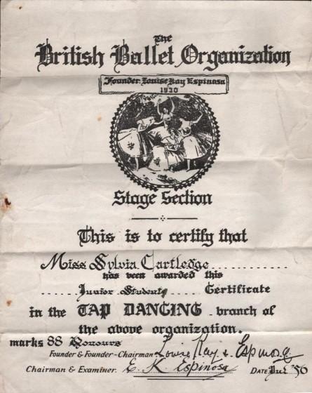 Sylvia Barnes (nee Cartledge) Tap Dance Certificate, 1956 | Photo: Sylvia Barnes