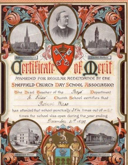 Robert Wass School Attendance Certificate, St Silas School. 1899 | Photo: Peter Armitage