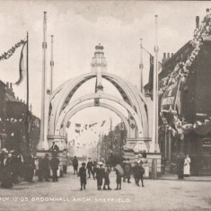 'Broomhall Arch': constructed for the Royal Visit to Sheffield on 12th July, 1905   Photo: OUR Broomhall