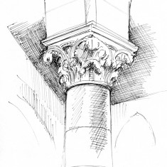 Sketch of a pillar capital by Phil Lockwood, St Silas Church. 2013 | Image: Phil Lockwood