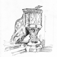 Sketch of the pulpit by Phil Lockwood, St Silas Church. 2013 | Image: Phil Lockwood
