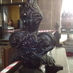 Carved wooden pew, St Silas Church. 2013 | Photo: Sue Lancaster