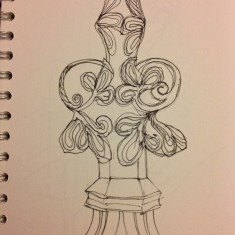 Sketch of carved wooden pew, St Silas Church by Sue Lancaster. 2013 | Photo: Sue Lancaster